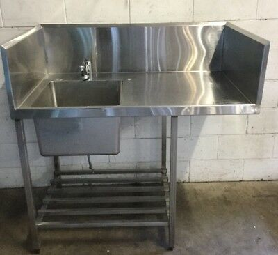 Commercial Cafe Restaurant S/Steel Hands Prep Bench & Left Hand Sink With Tap