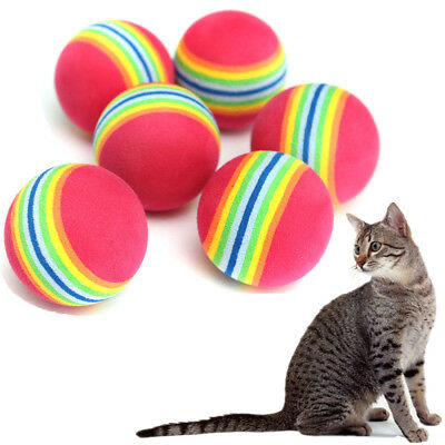 6PCS Colorful Pet Cat Kitten Soft Foam Rainbow Play Balls Activity Toys YZ