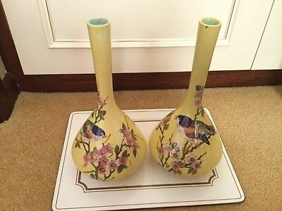 Bretby Antique Cloisonné Pair Of Yellow Vases With Bird Design