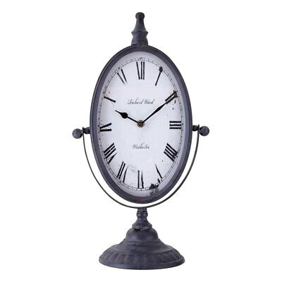 Table Top Free Standing Antique Style Black Metal Oval Mantel Clock
