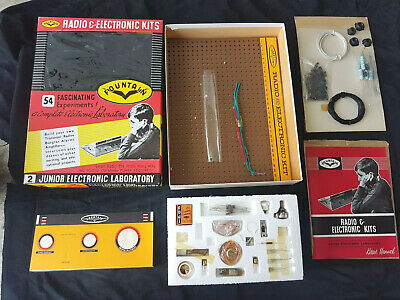 1960s NEW BOXED VINTAGE FOUNTAIN ELECTRONICS ASSEMBLE RADIO,AMP,INTERCOM TOY KIT