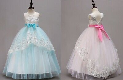 bdad0e6f01d Kids Flower Girl Bow Princess Dress for Girls Party Wedding Bridesmaid Gown  ZG9