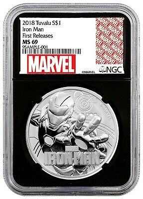 2018 Tuvalu IRON MAN 1 oz Silver Marvel Series NGC MS69 FR Black Core