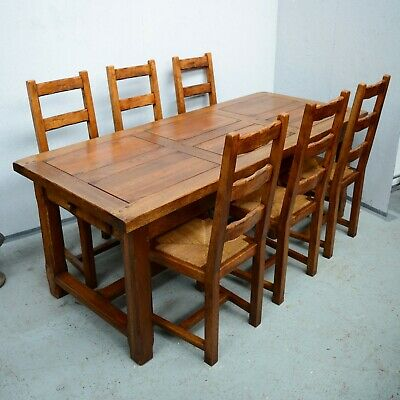 6 - 8 Seater Antique French Rustic Refectory Farmhouse Dining Table & Chairs