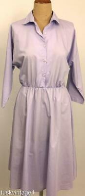 3c7886be17 VINTAGE 80s LAVENDER cotton blend SHIRT style A line skirt DRESS 14