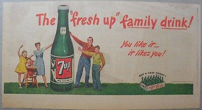 """7-Up Ad: The """"Fresh Up"""" Family Drink ! from 1940's  7.5 x 15 inches"""