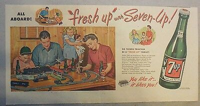 """7-Up Ad: The """"Fresh Up"""" Family Drink ! 1940's- 50's 7.5 x 14 inches Model Train"""