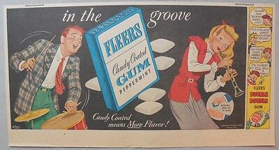 "Fleers Gum Ad: ""In The Groove"" Original Ad from 1930's-40's: 7.5 x 15 inches"