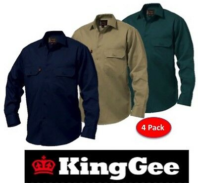Pack Of 4 - King Gee  - Mens Open Front Long Sleeve Drill Work Shirts K04010