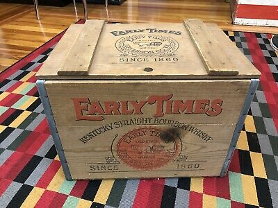 Vintage Early Times Kentucky Straight Bourbon Whisky USA WOODEN CRATE CHEST BOX