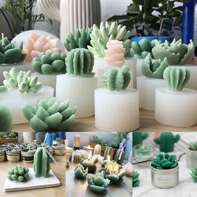 20 Styles 3D Succulent Cactus Candle Moulds Silicone Soap Molds DIY Craft Decor