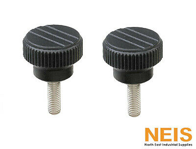 Knurled knob screw made from thermoplast external thread M12 x 30mm outside diameter 60mm