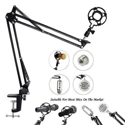 Microphone Suspension Boom Arm Stand w/ Shock Mount Clip for Broadcast Studio
