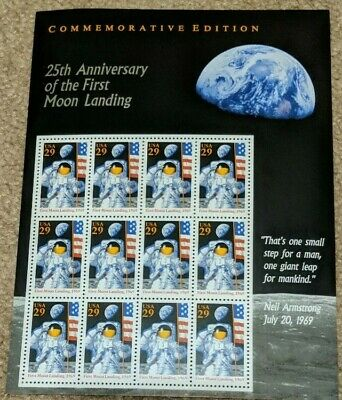 25th Anniversary of the First Moon Landing Sheet of Twelve 29¢ Stamps Scott 2841