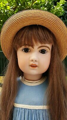 "Antique French Bebe Jumeau 30 "" 1907 Bisque Child Doll, human hair wig, perfect."