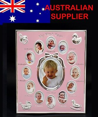 Baby First Year Photo Frame Record Newborn Girl 12 Hole Gallery Gift Present