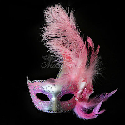 Ostrich Feather Venetian Masquerade Mask for Women M6131 Silver/Light Pink