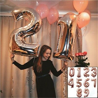 Foil Balloons 0-9 Number Digit Helium Ballons Supply Birthday Party For Decor