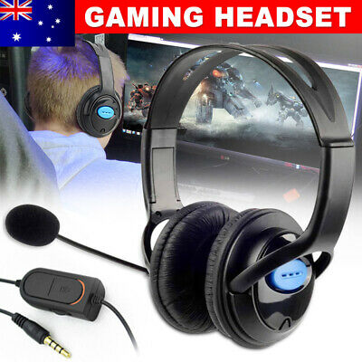 Gaming Headset Microphone Volume Wired Headphone for PS4 PlayStation 4 Black