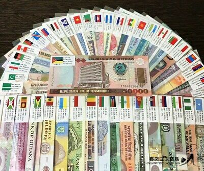 100 PCS 50 countries Different World MIX Foreign Banknotes Lot, Free shipping
