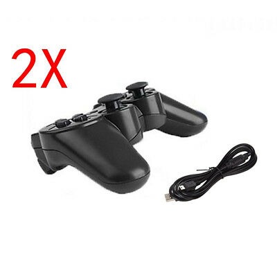 2X Wireless Bluetooth Game Controller Pad For Sony PS3 Playstation 3 W/ Cable UK