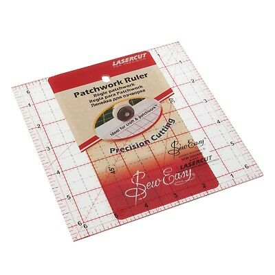"SEW EASY 6.5"" X 6.5"" SQUARE TEMPLATE RULER - 6 1/2 x 6 1/2"" quiliting PATCHWORK"