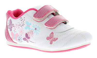 7808d7a08eef New Younger Girls Childrens White Pink Touch Fastening Trainers UK Size