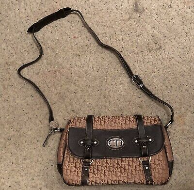 4a02ebe9c96c Vintage Christian Dior Monogram Messenger Bag Purse Large Canvas Leather Key
