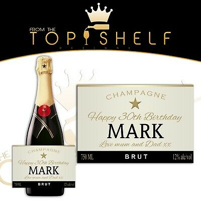 Personalised champagne bottle label birthday any occasion