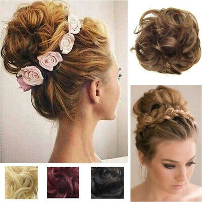 Women Lady Wave Curly Combs Clip In Hair Bun Piece Updo Cover Hair Extension