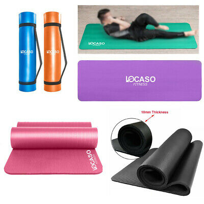 Yoga Mat for Pilates Gym Exercise Carry Strap 10mm Thick Large Comfortable UKEDE