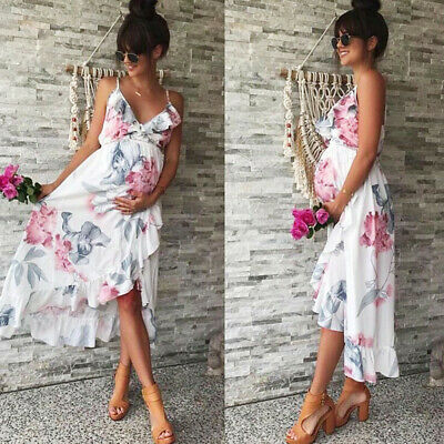 Women Mother Floral Print Falbala Pregnant Dress For Maternity Clothes Dress UK