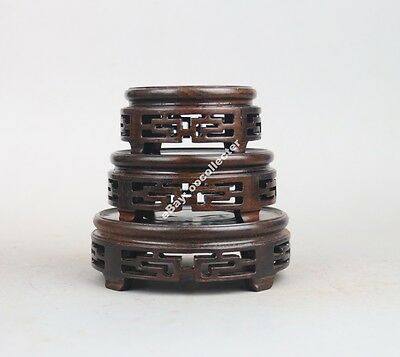 wooden display stand China 1 set 3 PC black wood round ebony wooden carved base