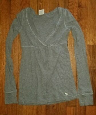 64a3c949b4d55d ABERCROMBIE WOMENS SEQUIN Embellished Top Size XS Shirt Gray Long ...
