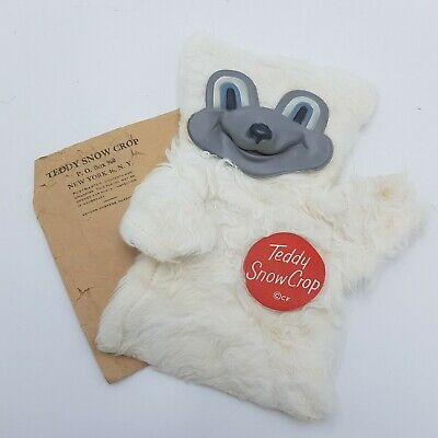 "Teddy Snow Crop Glove Puppet - Vintage 1950's Clinton Foods Promo 8"" Polar Bear"