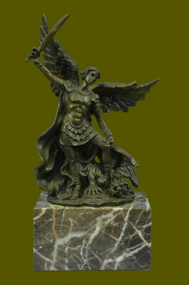 Church Hot Cast Bronze Archangel Saint St Michael Figure Statue Book End Bookend