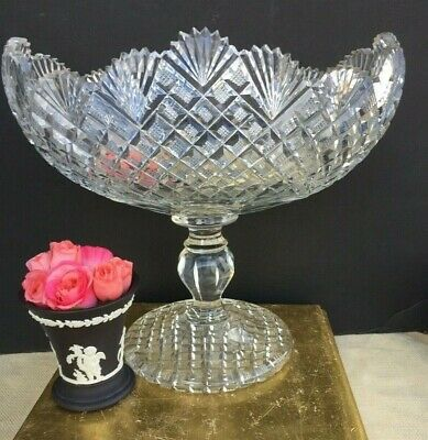 Antique Anglo Irish Cut Crystal Bowl Compote Centerpiece