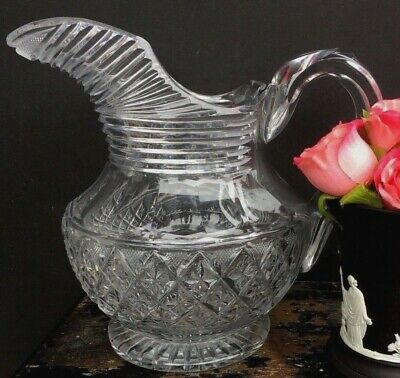Antique Anglo Irish Cut Crystal Small Pitcher
