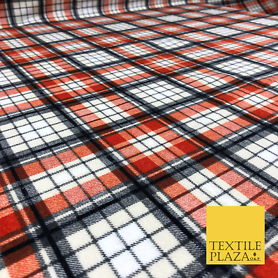 Orange Grey Tartan Check Winceyette Soft Brushed Cotton Flannel Fabric 1267