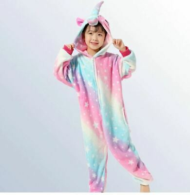 Kids Unicorn Animal Winter Pajamas Girls Boys Sleepwear Cosplay Costume