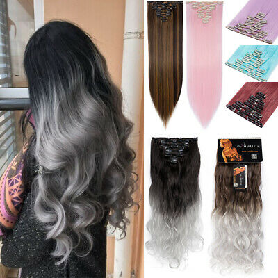 8 Pieces Ombre Hair Extensions Clip in Full Head Real Hair Curly Wavy Ombre Grey
