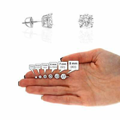 925 Sterling Silver Rond CZ Solitaire Screw Back Stud Earrings 0.20CT-4CT