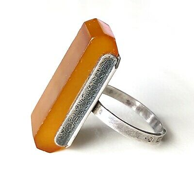 Signed Antique Art Deco 875 Silver Honey Amber Russian Modern Ring Size 7