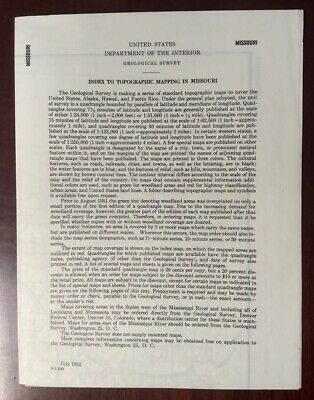Vintage 1952 MISSOURI INDEX TO TOPOGRAPHIC MAPPING US Dept of Interior