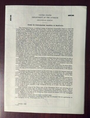 Vintage 1952 MONTANA INDEX TO TOPOGRAPHIC MAPPING US Dept of Interior