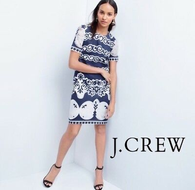 08f1ec3d878 J Crew Shift Dress In Ornate Lace Size 12 Blue White Short Sleeve NWT NEW