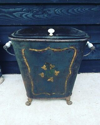 A Fantastic French Toleware Metal Log Bin Coal Bin Stick Store Period Fireplace