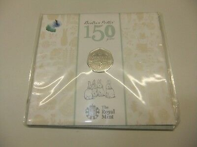 Beatrix Potter 150th Anniversary 50p Coin BUNC Royal Mint Presentation Pack