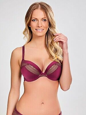 Panache Aria Plunge Bra 8086 Underwired Bandless Padded Moulded Navy /& Wine
