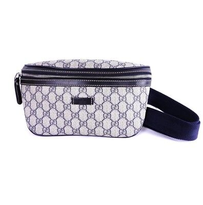 69de86e6509e GUCCI GG PLUS Waist Belt Pouch/Body Bag PVC Leather Beige Navy ...